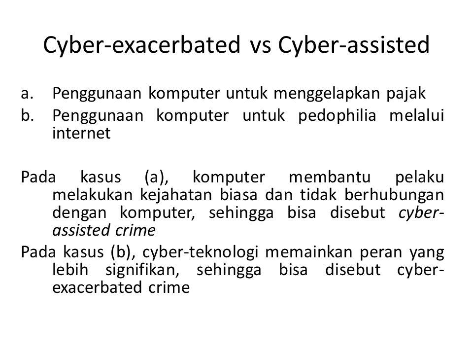 Cyber-exacerbated vs Cyber-assisted a.Penggunaan komputer untuk menggelapkan pajak b.Penggunaan komputer untuk pedophilia melalui internet Pada kasus