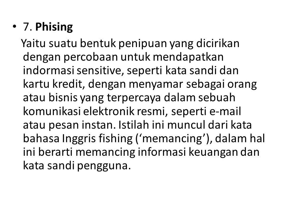 7. Phising Yaitu suatu bentuk penipuan yang dicirikan dengan percobaan untuk mendapatkan indormasi sensitive, seperti kata sandi dan kartu kredit, den