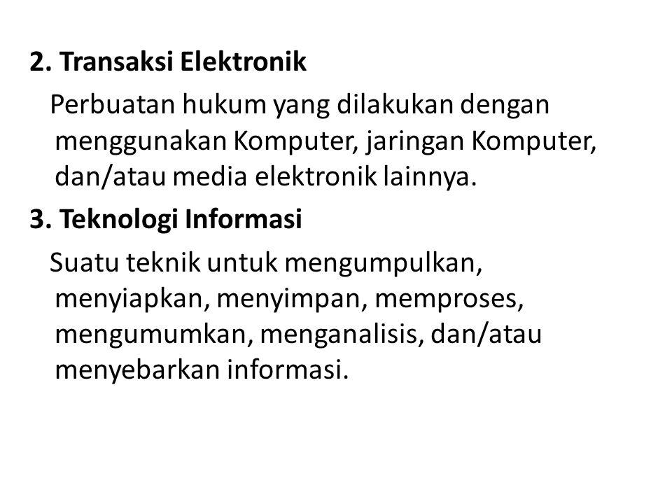 2. Transaksi Elektronik Perbuatan hukum yang dilakukan dengan menggunakan Komputer, jaringan Komputer, dan/atau media elektronik lainnya. 3. Teknologi