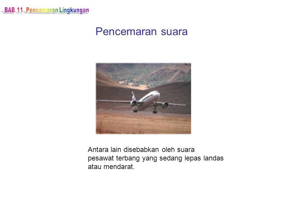 Pencemaran suara Antara lain disebabkan oleh suara pesawat terbang yang sedang lepas landas atau mendarat.