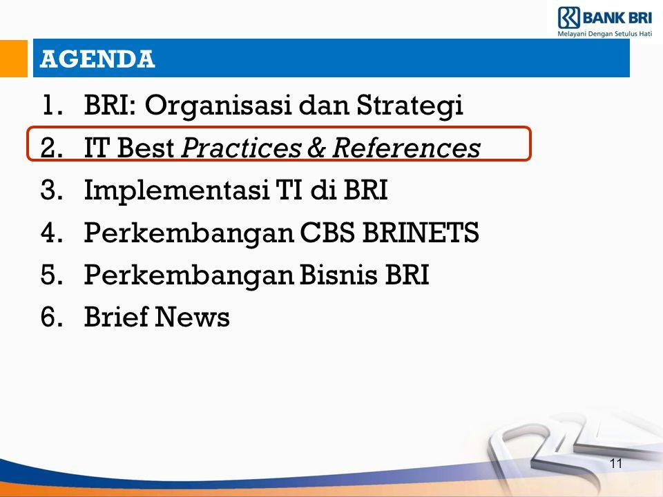 11 AGENDA 1.BRI: Organisasi dan Strategi 2.IT Best Practices & References 3.Implementasi TI di BRI 4.Perkembangan CBS BRINETS 5.Perkembangan Bisnis BR