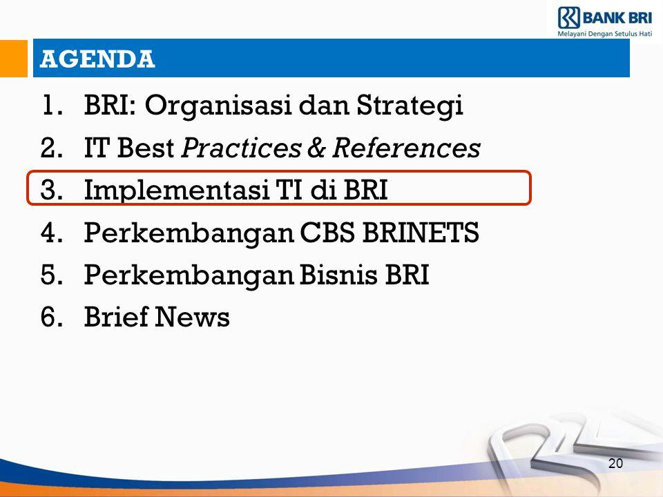 20 AGENDA 1.BRI: Organisasi dan Strategi 2.IT Best Practices & References 3.Implementasi TI di BRI 4.Perkembangan CBS BRINETS 5.Perkembangan Bisnis BR