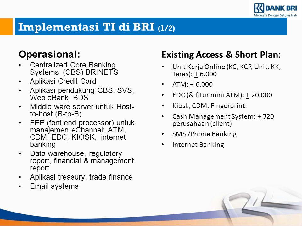 Implementasi TI di BRI (1/2) Operasional: Centralized Core Banking Systems (CBS) BRINETS Aplikasi Credit Card Aplikasi pendukung CBS: SVS, Web eBank,