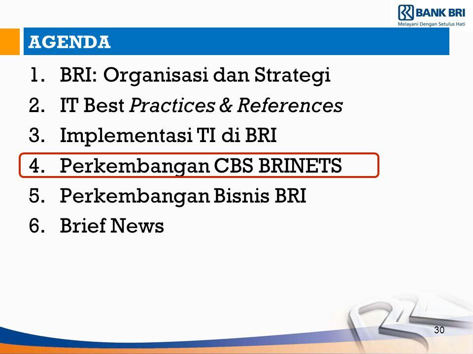 30 AGENDA 1.BRI: Organisasi dan Strategi 2.IT Best Practices & References 3.Implementasi TI di BRI 4.Perkembangan CBS BRINETS 5.Perkembangan Bisnis BR