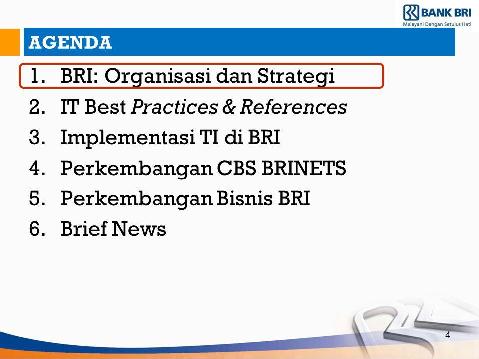 4 AGENDA 1.BRI: Organisasi dan Strategi 2.IT Best Practices & References 3.Implementasi TI di BRI 4.Perkembangan CBS BRINETS 5.Perkembangan Bisnis BRI