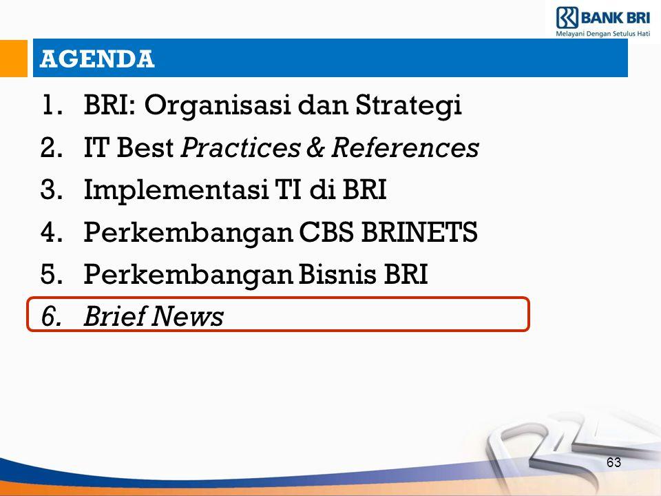 63 AGENDA 1.BRI: Organisasi dan Strategi 2.IT Best Practices & References 3.Implementasi TI di BRI 4.Perkembangan CBS BRINETS 5.Perkembangan Bisnis BR