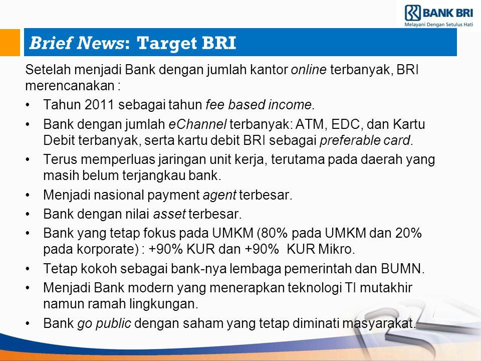 Brief News: Target BRI Setelah menjadi Bank dengan jumlah kantor online terbanyak, BRI merencanakan : Tahun 2011 sebagai tahun fee based income. Bank