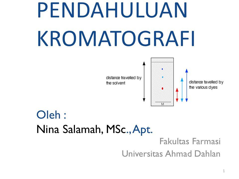 2 Menurut Willard et at, (1989), pembagian kromatografi dapat dibuat bagan sebagai berikut: Kromatografi Kromatografi gas Kromatografi Cair Gas-cair Gas padat Cair-cair Cair-padat (GLC) (GSC) LLC LSC Eksklusif Penukar ion EC IEC Fase terikat Pasangan ion