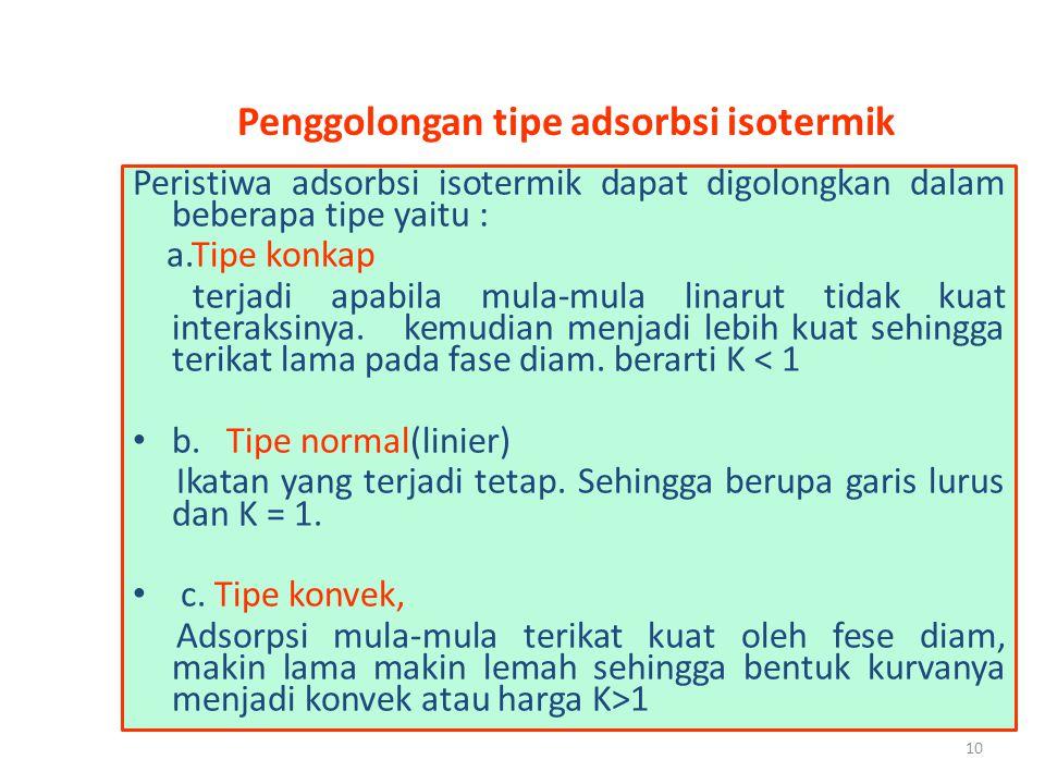 10 Penggolongan tipe adsorbsi isotermik Peristiwa adsorbsi isotermik dapat digolongkan dalam beberapa tipe yaitu : a.Tipe konkap terjadi apabila mula-
