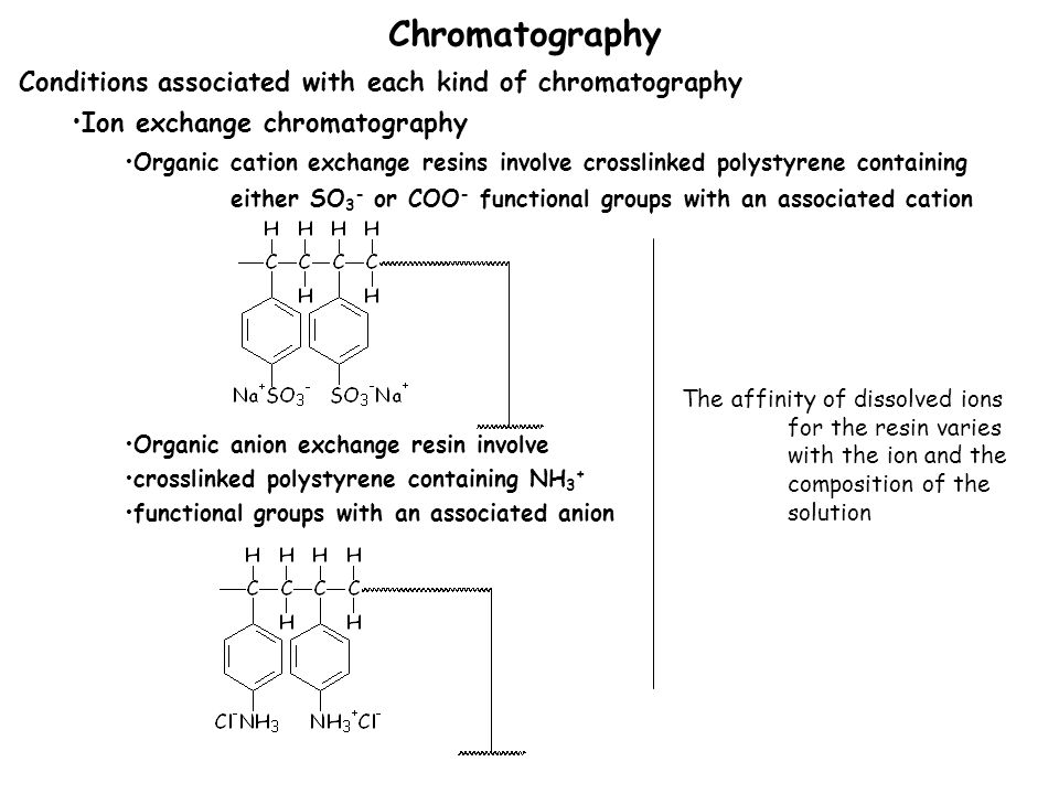 Chromatography Conditions associated with each kind of chromatography Ion exchange chromatography Organic cation exchange resins involve crosslinked polystyrene containing either SO 3 - or COO - functional groups with an associated cation Organic anion exchange resin involve crosslinked polystyrene containing NH 3 + functional groups with an associated anion The affinity of dissolved ions for the resin varies with the ion and the composition of the solution