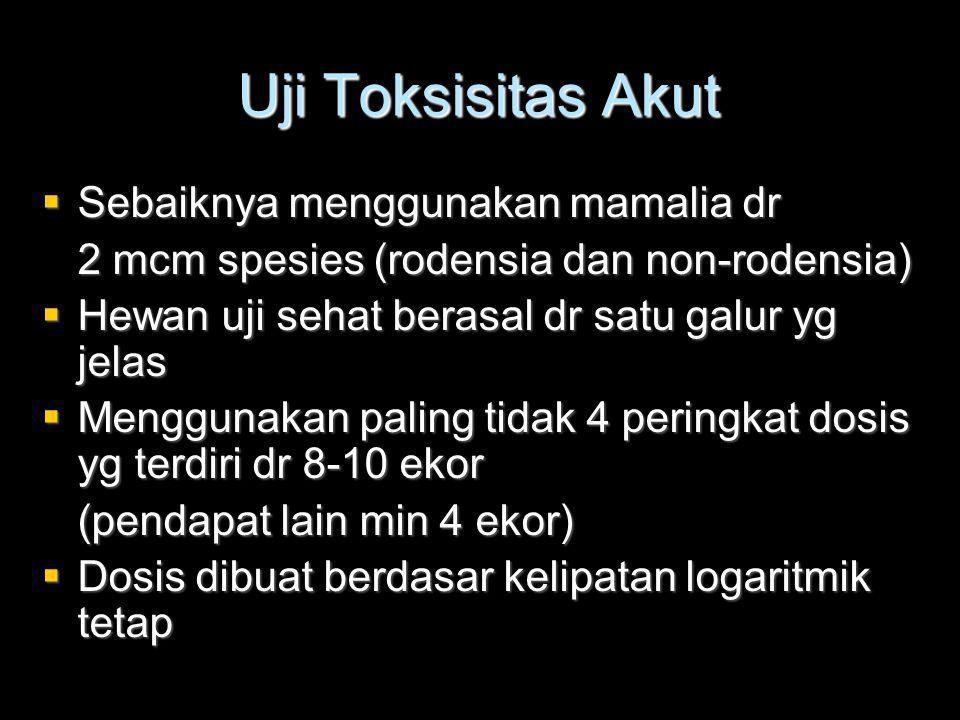 Uji Toksisitas Akut  Sebaiknya menggunakan mamalia dr 2 mcm spesies (rodensia dan non-rodensia)  Hewan uji sehat berasal dr satu galur yg jelas  Menggunakan paling tidak 4 peringkat dosis yg terdiri dr 8-10 ekor (pendapat lain min 4 ekor)  Dosis dibuat berdasar kelipatan logaritmik tetap