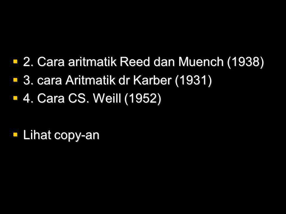  2.Cara aritmatik Reed dan Muench (1938)  3. cara Aritmatik dr Karber (1931)  4.