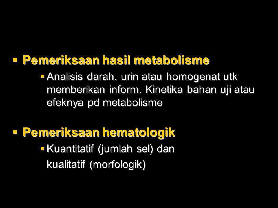  Pemeriksaan hasil metabolisme  Analisis darah, urin atau homogenat utk memberikan inform. Kinetika bahan uji atau efeknya pd metabolisme  Pemeriks