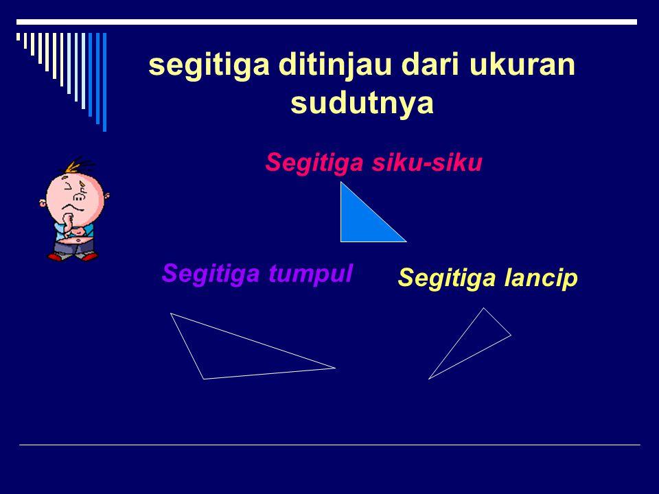 segitiga ditinjau dari ukuran sudutnya Segitiga siku-siku Segitiga tumpul Segitiga lancip