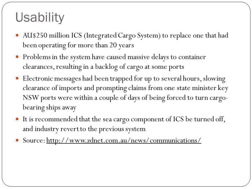 Usability AU$250 million ICS (Integrated Cargo System) to replace one that had been operating for more than 20 years Problems in the system have cause