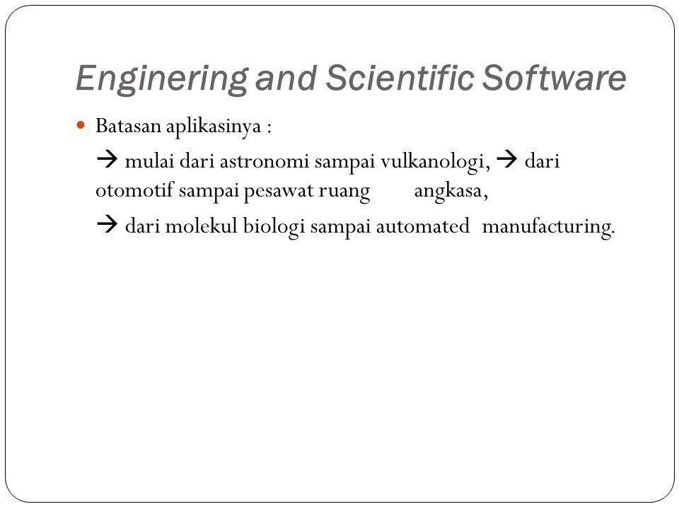 Enginering and Scientific Software Batasan aplikasinya :  mulai dari astronomi sampai vulkanologi,  dari otomotif sampai pesawat ruang angkasa,  dari molekul biologi sampai automated manufacturing.