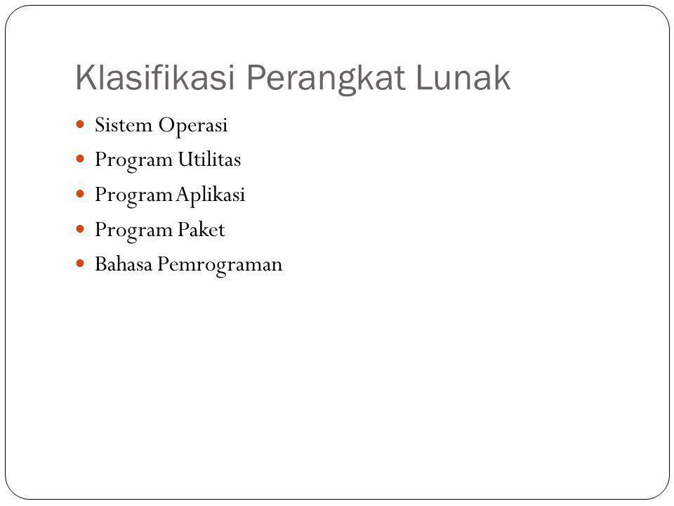 Klasifikasi Perangkat Lunak Sistem Operasi Program Utilitas Program Aplikasi Program Paket Bahasa Pemrograman