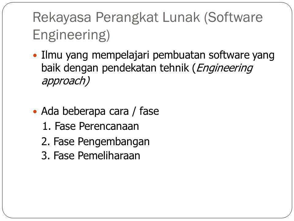 Rekayasa Perangkat Lunak (Software Engineering) Ilmu yang mempelajari pembuatan software yang baik dengan pendekatan tehnik (Engineering approach) Ada beberapa cara / fase 1.