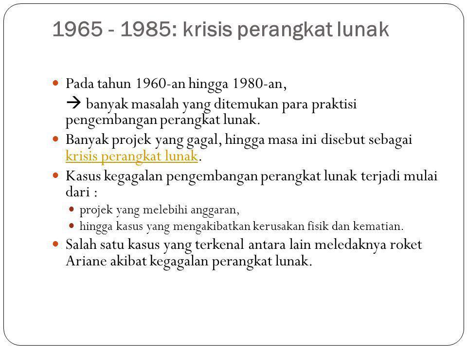 1965 - 1985: krisis perangkat lunak Pada tahun 1960-an hingga 1980-an,  banyak masalah yang ditemukan para praktisi pengembangan perangkat lunak. Ban