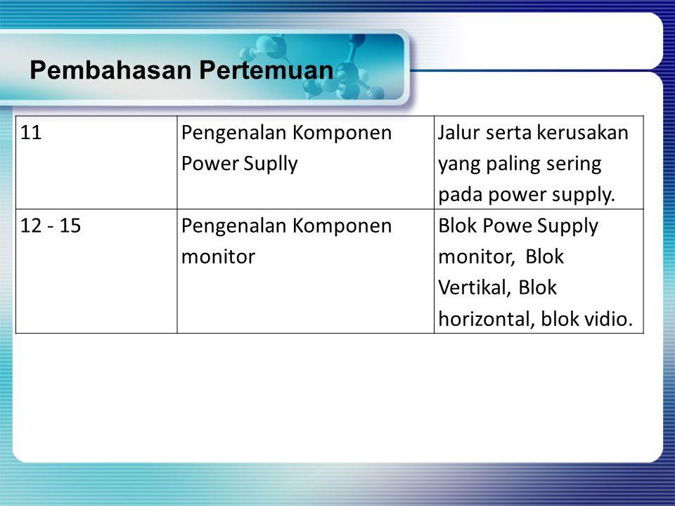 11 Pengenalan Komponen Power Suplly Jalur serta kerusakan yang paling sering pada power supply. 12 - 15Pengenalan Komponen monitor Blok Powe Supply mo