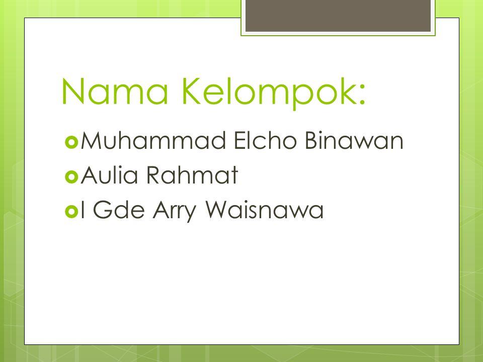 Nama Kelompok:  Muhammad Elcho Binawan  Aulia Rahmat  I Gde Arry Waisnawa