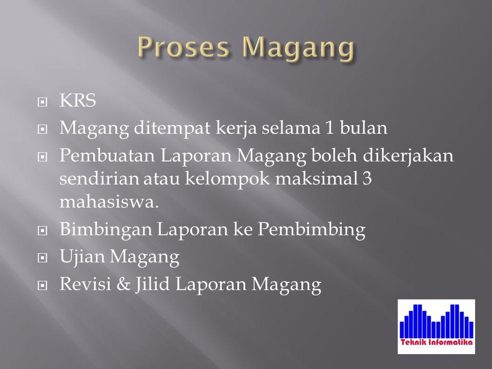  Presensi Magang  Surat Keterangan Magang  Penilaian Magang  Form Bimbingan Magang  Berkas-berkas lain yang didapat ketika Magang.