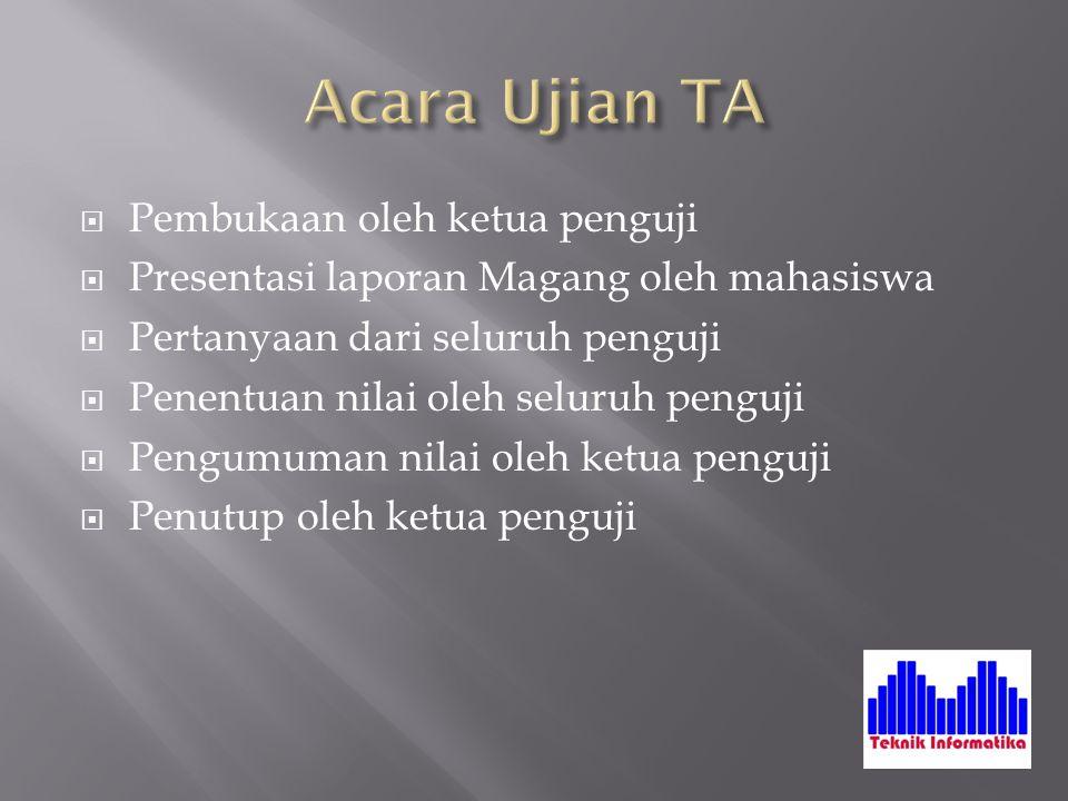  Pembukaan oleh ketua penguji  Presentasi laporan Magang oleh mahasiswa  Pertanyaan dari seluruh penguji  Penentuan nilai oleh seluruh penguji  P