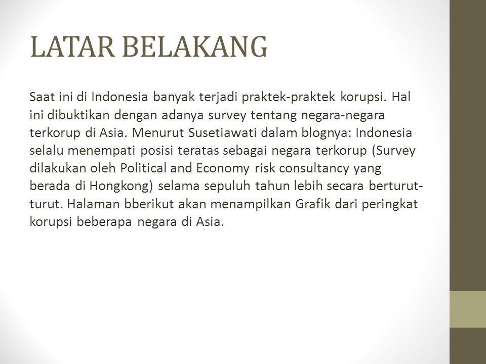 LATAR BELAKANG Saat ini di Indonesia banyak terjadi praktek-praktek korupsi. Hal ini dibuktikan dengan adanya survey tentang negara-negara terkorup di