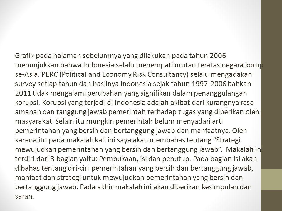 Grafik pada halaman sebelumnya yang dilakukan pada tahun 2006 menunjukkan bahwa Indonesia selalu menempati urutan teratas negara korup se-Asia. PERC (