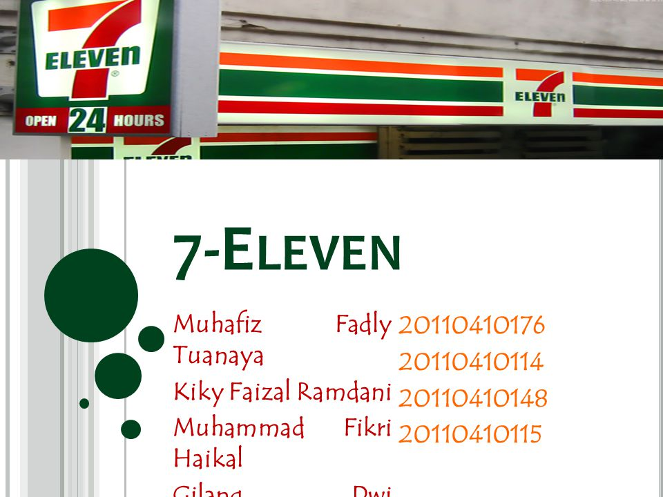 7-E LEVEN Muhafiz Fadly Tuanaya Kiky Faizal Ramdani Muhammad Fikri Haikal Gilang Dwi Oktavianto 20110410176 20110410114 20110410148 20110410115