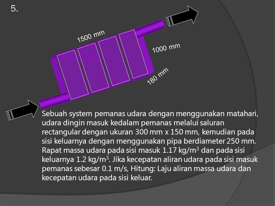 5. Sebuah system pemanas udara dengan menggunakan matahari, udara dingin masuk kedalam pemanas melalui saluran rectangular dengan ukuran 300 mm x 150