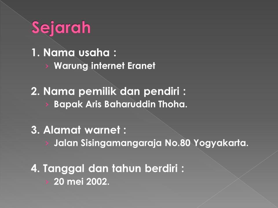 1. Nama usaha : › Warung internet Eranet 2. Nama pemilik dan pendiri : › Bapak Aris Baharuddin Thoha. 3. Alamat warnet : › Jalan Sisingamangaraja No.8