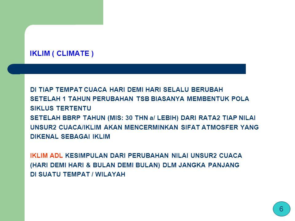 IKLIM ( CLIMATE ) DI TIAP TEMPAT CUACA HARI DEMI HARI SELALU BERUBAH SETELAH 1 TAHUN PERUBAHAN TSB BIASANYA MEMBENTUK POLA SIKLUS TERTENTU SETELAH BBRP TAHUN (MIS: 30 THN a/ LEBIH) DARI RATA2 TIAP NILAI UNSUR2 CUACA/IKLIM AKAN MENCERMINKAN SIFAT ATMOSFER YANG DIKENAL SEBAGAI IKLIM IKLIM ADL KESIMPULAN DARI PERUBAHAN NILAI UNSUR2 CUACA (HARI DEMI HARI & BULAN DEMI BULAN) DLM JANGKA PANJANG DI SUATU TEMPAT / WILAYAH 6