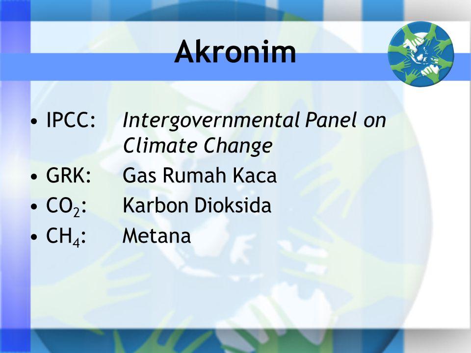 IPCC:Intergovernmental Panel on Climate Change GRK:Gas Rumah Kaca CO 2 :Karbon Dioksida CH 4 :Metana Akronim