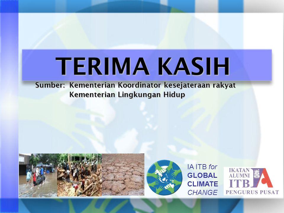 IA ITB for GLOBAL CLIMATE CHANGE TERIMA KASIH Sumber: Kementerian Koordinator kesejateraan rakyat Kementerian Lingkungan Hidup Kementerian Lingkungan Hidup