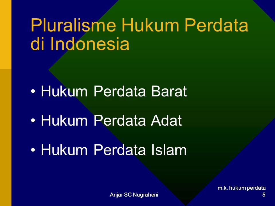 m.k. hukum perdata Anjar SC Nugraheni 5 Pluralisme Hukum Perdata di Indonesia Hukum Perdata Barat Hukum Perdata Adat Hukum Perdata Islam