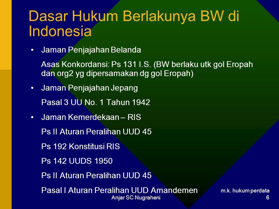 m.k. hukum perdata Anjar SC Nugraheni 6 Dasar Hukum Berlakunya BW di Indonesia Jaman Penjajahan Belanda Asas Konkordansi: Ps 131 I.S. (BW berlaku utk