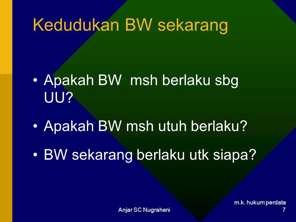 m.k.hukum perdata Anjar SC Nugraheni 8 Sistematika Hukum Perdata Menurut BW 1.