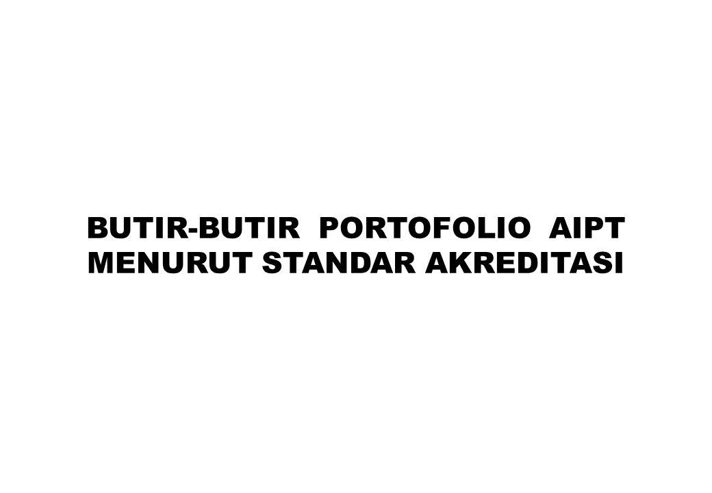 BUTIR-BUTIR PORTOFOLIO AIPT MENURUT STANDAR AKREDITASI