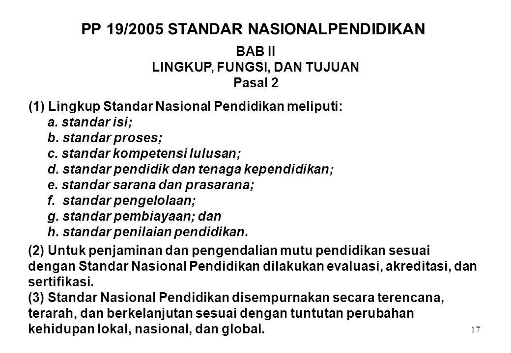 17 BAB II LINGKUP, FUNGSI, DAN TUJUAN Pasal 2 (1) Lingkup Standar Nasional Pendidikan meliputi: a. standar isi; b. standar proses; c. standar kompeten