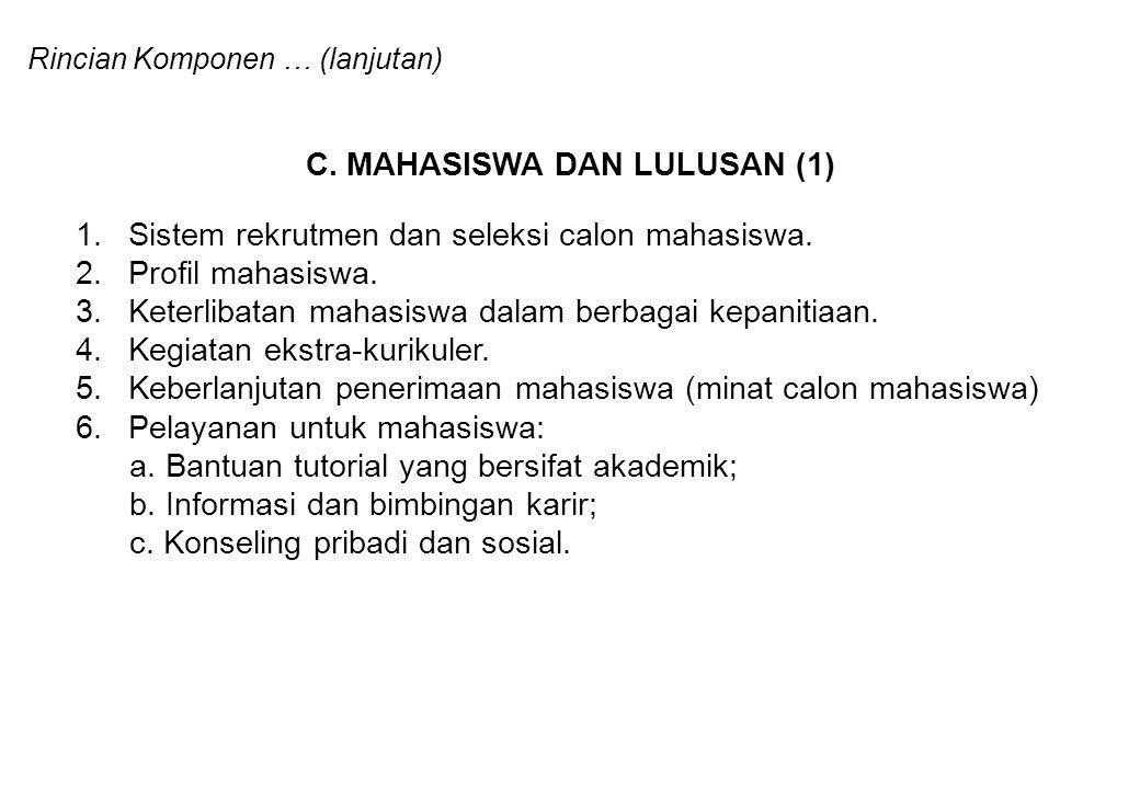 Rincian Komponen … (lanjutan) C. MAHASISWA DAN LULUSAN (1) 1.Sistem rekrutmen dan seleksi calon mahasiswa. 2.Profil mahasiswa. 3.Keterlibatan mahasisw