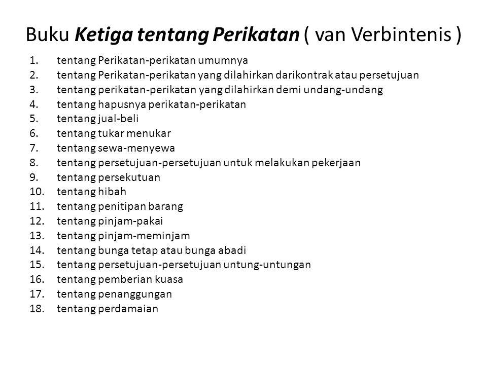 Buku Ketiga tentang Perikatan ( van Verbintenis ) 1.tentang Perikatan-perikatan umumnya 2.tentang Perikatan-perikatan yang dilahirkan darikontrak atau