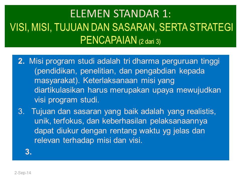 ELEMEN STANDAR 1 : VISI, MISI, TUJUAN DAN SASARAN, SERTA STRATEGI PENCAPAIAN (2 dari 3) 2. Misi program studi adalah tri dharma perguruan tinggi (pend