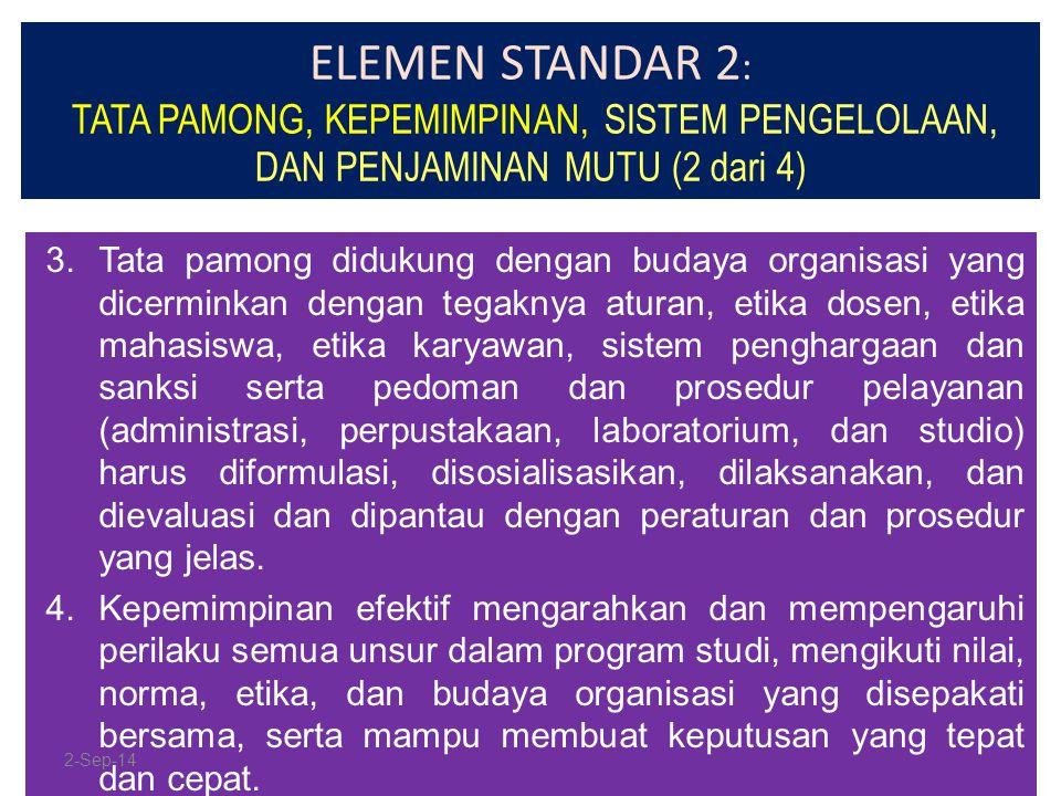 ELEMEN STANDAR 2 : TATA PAMONG, KEPEMIMPINAN, SISTEM PENGELOLAAN, DAN PENJAMINAN MUTU (2 dari 4) 3.Tata pamong didukung dengan budaya organisasi yang