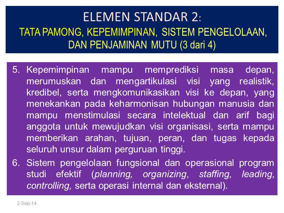 ELEMEN STANDAR 2 : TATA PAMONG, KEPEMIMPINAN, SISTEM PENGELOLAAN, DAN PENJAMINAN MUTU (3 dari 4) 5.Kepemimpinan mampu memprediksi masa depan, merumusk
