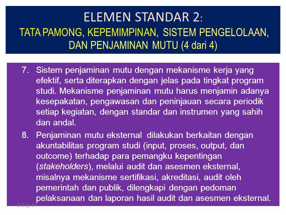 ELEMEN STANDAR 2 : TATA PAMONG, KEPEMIMPINAN, SISTEM PENGELOLAAN, DAN PENJAMINAN MUTU (4 dari 4) 7.Sistem penjaminan mutu dengan mekanisme kerja yang