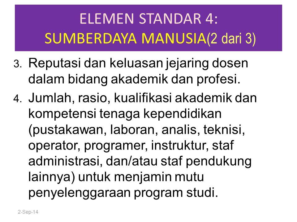ELEMEN STANDAR 4: SUMBERDAYA MANUSIA (2 dari 3) 3. Reputasi dan keluasan jejaring dosen dalam bidang akademik dan profesi. 4. Jumlah, rasio, kualifika