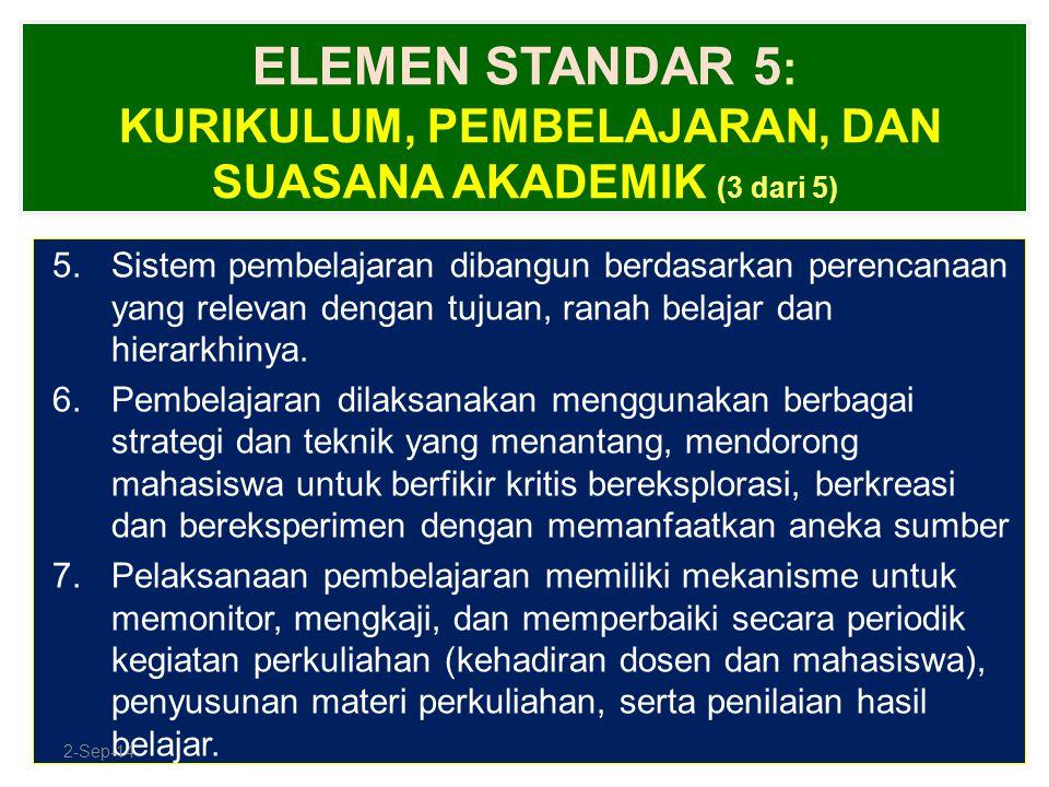 ELEMEN STANDAR 5 : KURIKULUM, PEMBELAJARAN, DAN SUASANA AKADEMIK (3 dari 5) 5.Sistem pembelajaran dibangun berdasarkan perencanaan yang relevan dengan