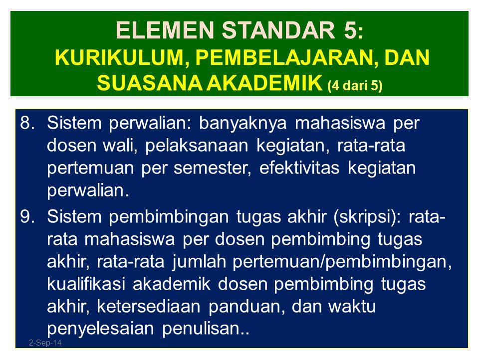 ELEMEN STANDAR 5 : KURIKULUM, PEMBELAJARAN, DAN SUASANA AKADEMIK (4 dari 5) 8.Sistem perwalian: banyaknya mahasiswa per dosen wali, pelaksanaan kegiat