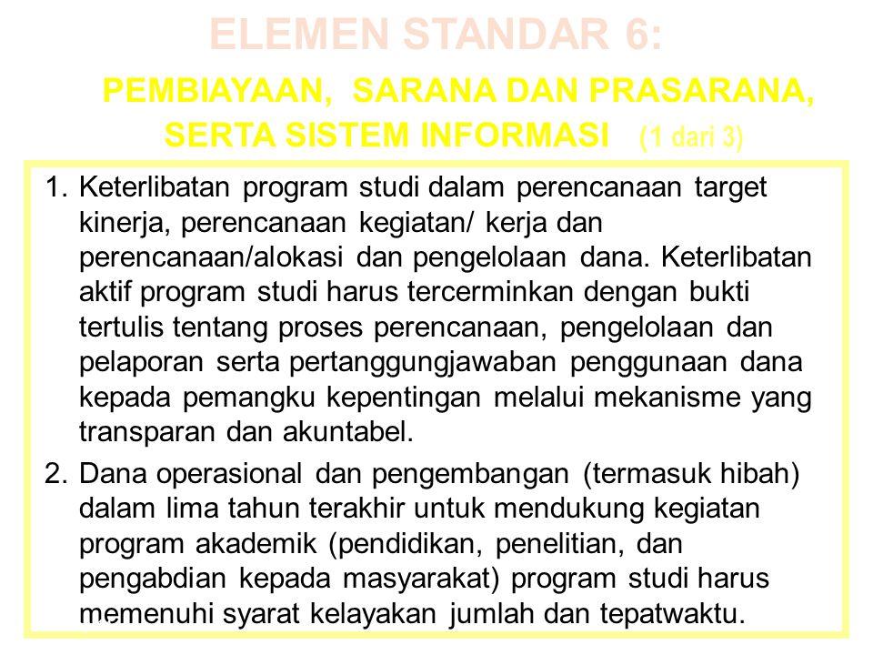 ELEMEN STANDAR 6: PEMBIAYAAN, SARANA DAN PRASARANA, SERTA SISTEM INFORMASI (1 dari 3) 1.Keterlibatan program studi dalam perencanaan target kinerja, p